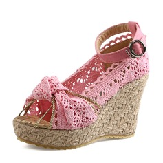 Women's Cloth Wedge Heel Pumps Wedges With Buckle shoes