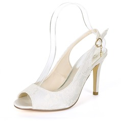 Women's Silk Like Satin Stiletto Heel Peep Toe Pumps Sandals With Buckle Imitation Pearl