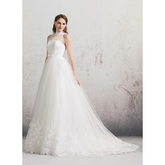 Ball-Gown High Neck Chapel Train Tulle Lace Wedding Dress With Bow(s)