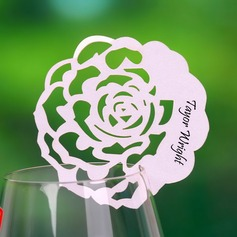Rose Design Pearl Paper Place Cards