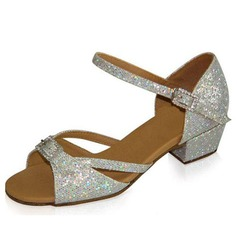 Kids' Sparkling Glitter Sandals Flats Latin With Rhinestone Buckle Dance Shoes