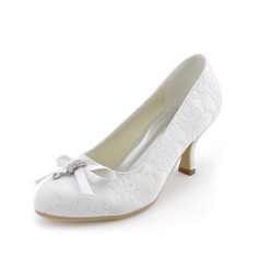 Women's Lace Spool Heel Closed Toe Pumps With Bowknot Crystal