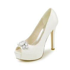 Women's Satin Stiletto Heel Peep Toe Pumps With Rhinestone