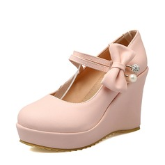 Women's PU Wedge Heel Platform Wedges With Bowknot shoes