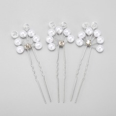 Classic Alloy/Imitation Pearls Hairpins (Set of 3)