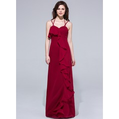 Sheath/Column Halter Floor-Length Chiffon Evening Dress With Cascading Ruffles