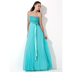 A-Line/Princess Strapless Floor-Length Chiffon Evening Dress With Sequins Bow(s) Pleated