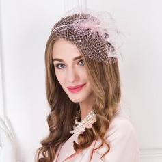 Ladies' Vintage Tulle With Feather Fascinators