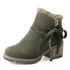De mujer Ante Tacón ancho Salón Botas Botas al tobillo Botas de nieve con Cordones zapatos