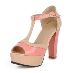Vrouwen Kunstleer Chunky Heel Sandalen Plateau met Gesp schoenen