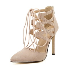 Women's Suede Stiletto Heel Pumps Closed Toe With Zipper Lace-up shoes