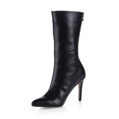 Leatherette Stiletto Heel Mid-Calf Boots shoes (088038177)