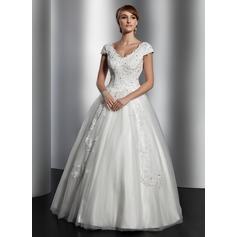 A-Line/Princess V-neck Floor-Length Tulle Wedding Dress With Lace Sequins