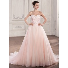 Ball-Gown Sweetheart Chapel Train Tulle Lace Wedding Dress With Beading Sequins