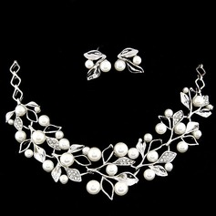 Leaves Shaped Alloy Rhinestones Pearl Women's Jewelry Sets (137053767)