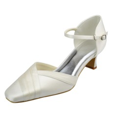 Women's Satin Chunky Heel Closed Toe Pumps With Buckle
