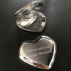Personalized Heart Shaped Stainless Steel Compact Mirror