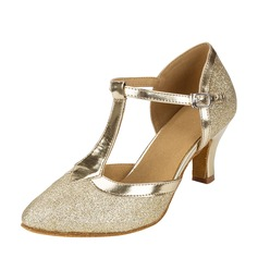 Women's Sparkling Glitter Ballroom With T-Strap Dance Shoes