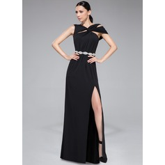 Sheath/Column Off-the-Shoulder Floor-Length Jersey Evening Dress With Ruffle Beading Split Front