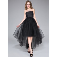 A-Line/Princess Strapless Asymmetrical Taffeta Tulle Homecoming Dress With Ruffle