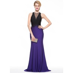 Trumpet/Mermaid Scoop Neck Sweep Train Jersey Prom Dress With Beading Appliques Lace Sequins