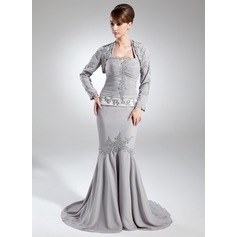 Trumpet/Mermaid Halter Court Train Chiffon Mother of the Bride Dress With Ruffle Beading Sequins