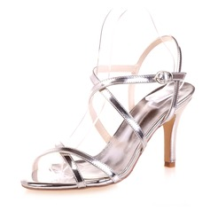 Women's Patent Leather Stiletto Heel Peep Toe Sandals With Buckle