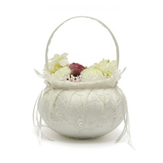 Lovely Flower Basket in Satin With Bow/Lace (102047560)