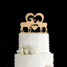 Personalized Reindeer Wood Cake Topper