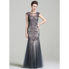 Trumpet/Mermaid Scoop Neck Floor-Length Tulle Mother of the Bride Dress With Beading Appliques Lace Sequins