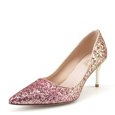 Women's Sparkling Glitter Stiletto Heel Pumps Closed Toe With Others Braided Strap Split Joint Elastic Band shoes