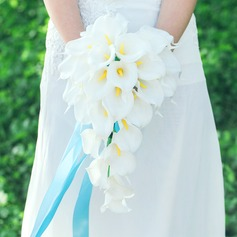 Elegant Cascade Artificial Silk Bridal Bouquets
