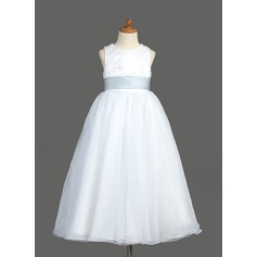 Ball Gown Ankle-length Flower Girl Dress - Organza/Satin Sleeveless Scoop Neck With Lace/Sash