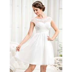 A-Line/Princess Scoop Neck Knee-Length Tulle Wedding Dress With Ruffle Beading Appliques Lace Sequins