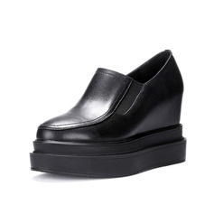 Real Leather Wedge Heel Platform Closed Toe shoes