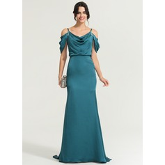 Trumpet/Mermaid Cowl Neck Sweep Train Satin Chiffon Evening Dress With Beading Sequins