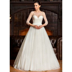 Ball-Gown Scoop Neck Sweep Train Tulle Wedding Dress With Beading