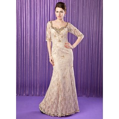 Trumpet/Mermaid Sweetheart Floor-Length Lace Mother of the Bride Dress With Beading Sequins