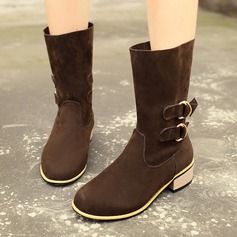 Women's Suede Low Heel Mid-Calf Boots Martin Boots With Buckle shoes