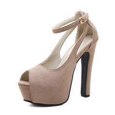 Femmes Suède Talon stiletto Sandales Escarpins Plateforme À bout ouvert avec Boucle chaussures