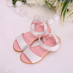 Girl's Peep Toe Leatherette Flat Heel Sandals Flats Flower Girl Shoes With Velcro
