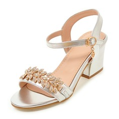 Women's Leatherette Chunky Heel Sandals Pumps Peep Toe With Rhinestone Buckle shoes