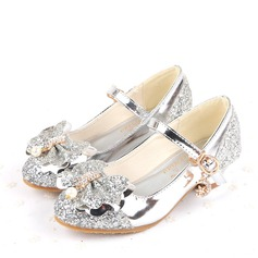 Girl's Closed Toe Sparkling Glitter Low Heel Pumps Flower Girl Shoes With Bowknot Buckle