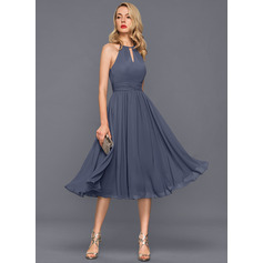 A-Line/Princess Scoop Neck Knee-Length Chiffon Cocktail Dress With Ruffle (016140368)