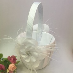 Pure Flower Basket in Satin & Lace With Rhinestones/Feather