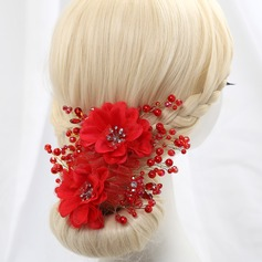 Pretty Imitation Pearls/Artificial Silk Flowers & Feathers