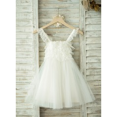 A-Line/Princess Knee-length Flower Girl Dress - Tulle/Lace Straps