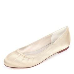 Vrouwen zijde als satijn Flat Heel Flats met Roes