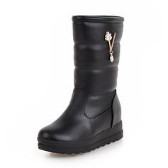 Mulheres Couro Salto baixo Fechados Botas Botas na panturrilha Botas de neve com Strass sapatos