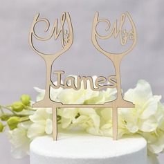 Personalized Mr. & Mrs./Love Is Sweet Wood Cake Topper (Sold in a single piece)